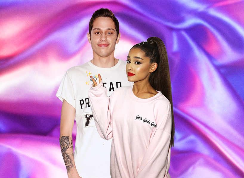 Pete Davidson next to Arian Grande on a purple background