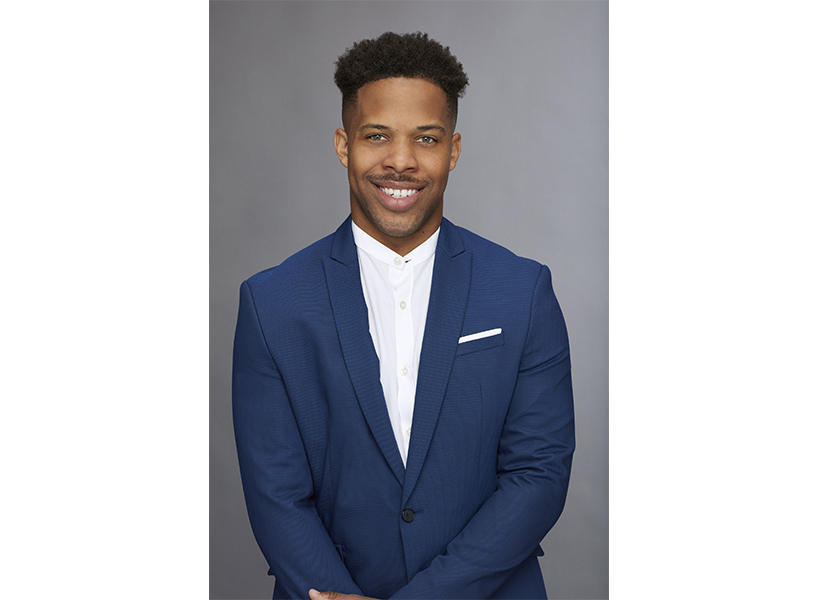 The Bachelorette season 14 episode 2: Contestant Wills in a white button-up shirt and navy blazer