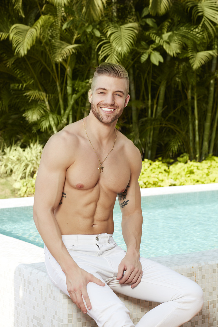 Bachelor in Paradise Season 5 cast member Nick Spetsas, shirtless in white pants