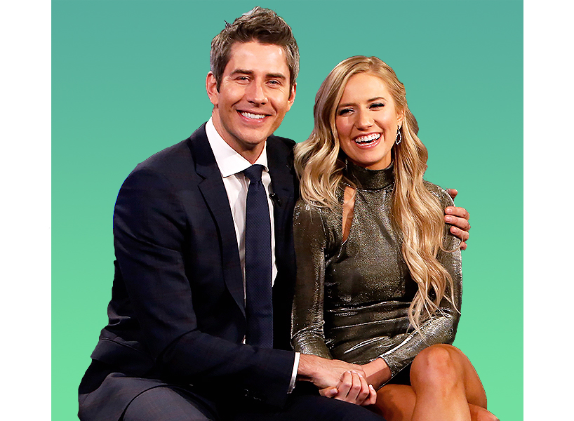 'The Bachelor season 5' Arie wearing a suit and tie with fiancee Lauren with long blonde hair
