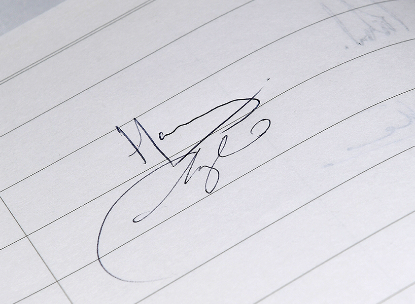 Duchess of Sussex's signature on lined paper