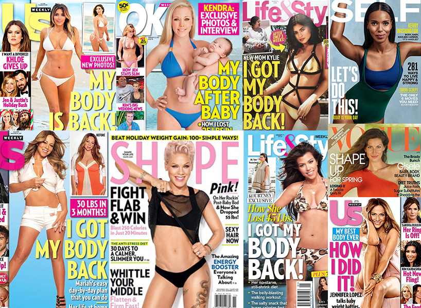 "A photo collage of ""how i got my body back"" tabloid covers"