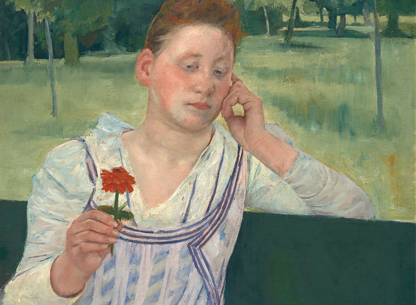 A portrait of a woman in despair, sitting on a bench and holding a red zinnia