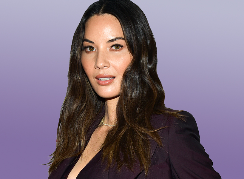 Olivia Munn in purple suit
