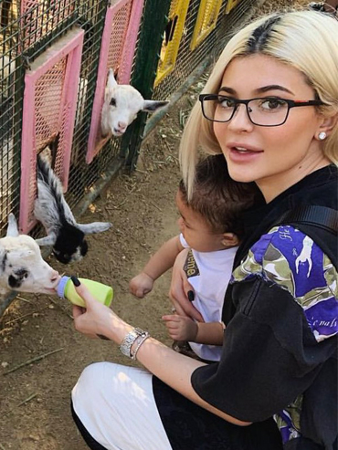 celebs at pumpkin patches: Kylie and Stormi feed baby goats