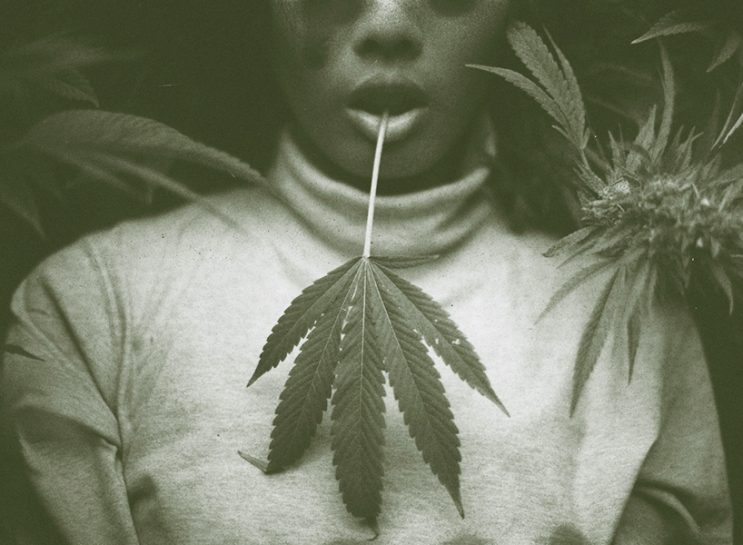 A young Black woman wearing a light turtleneck and holding a marijuana leaf in her mouth