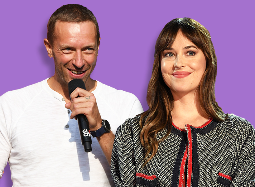 Chris Martin and Dakota Johnson pictured against a purple background