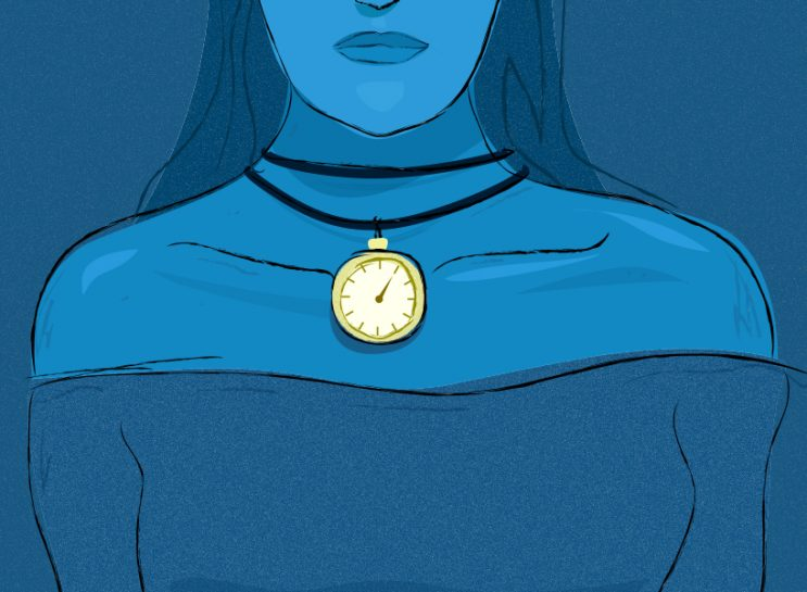 Illustration of woman wearing a clock as a necklace