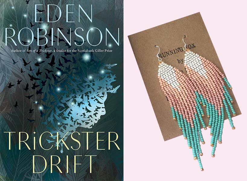 feminist gifts: eden robinson's trickster drift book and pink dangly earrings