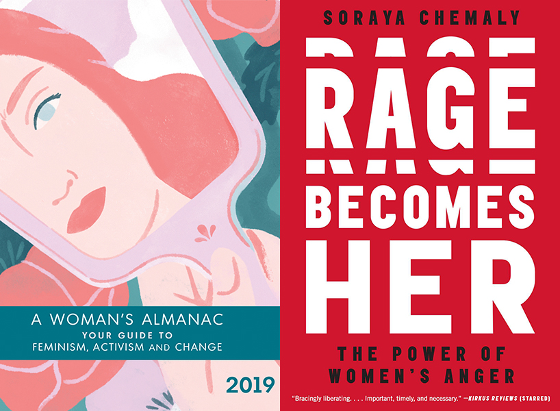feminist gifts: left, woman's almanac cover, right, rage becomes her cover