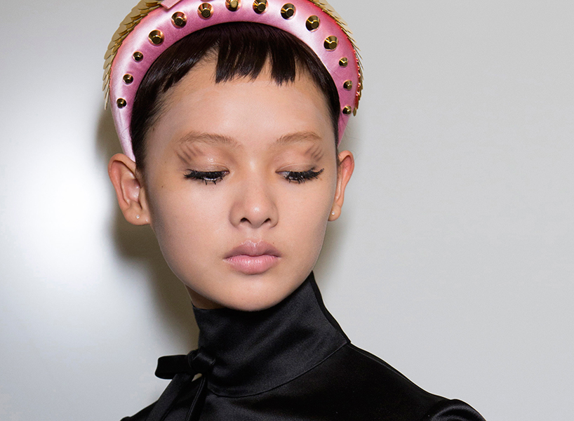 A backstage beauty look from Prada's Spring 2019 show