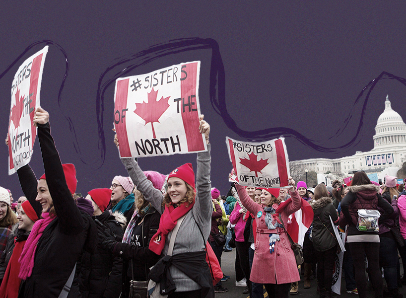"A photo of Canadian women at the Washington Women's March with signs that say ""Sisters of the North"""