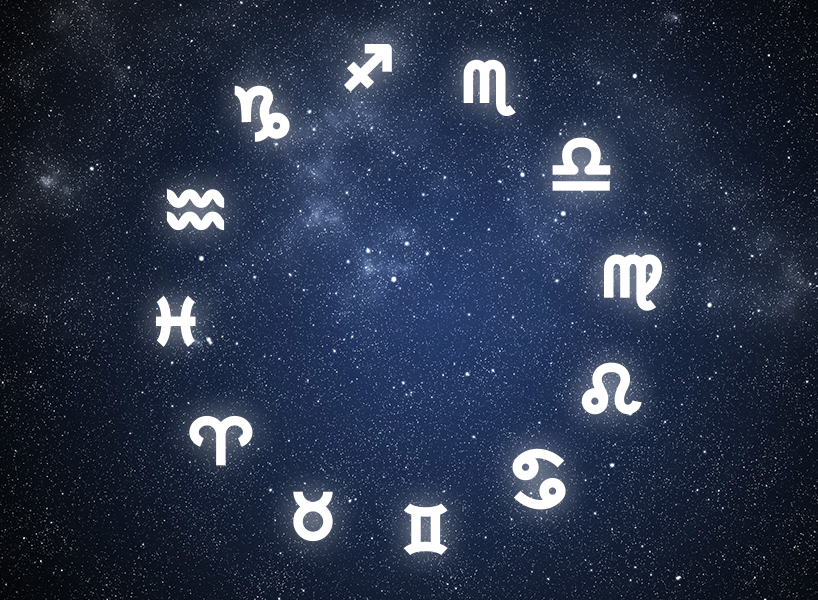 2019 horoscopes: signs in a circle on starry sky background