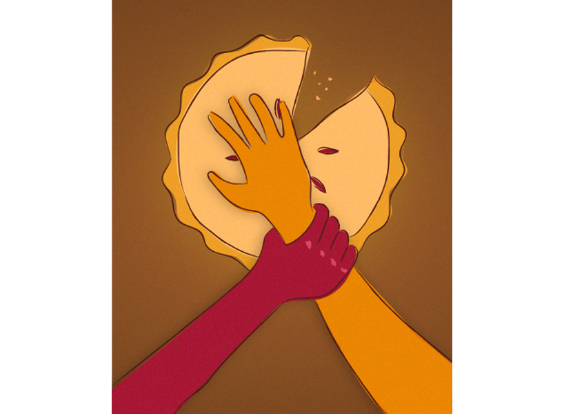 An illustration of a hand holding back another arm from reaching for a pie