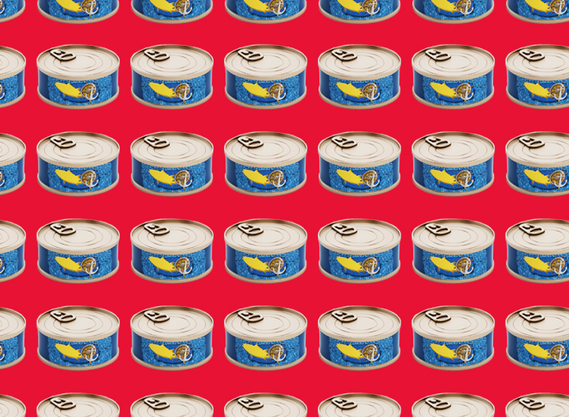A photo of repeating tuna cans on a red background, pop art style