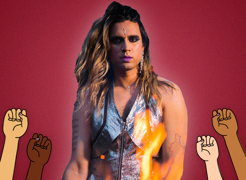 Vivek Shraya poses in silver v-neck dress with a bindi and her hair down, there are illustrations of raised fists around her in a show of solidarity and power