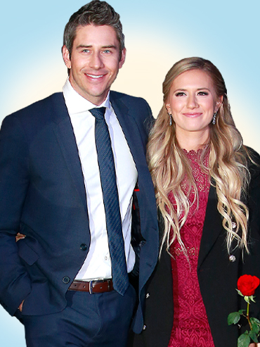 A photo of season 22 Bachelor Arie Luyendyk Jr. in a suit with fiancee Lauren Burnham