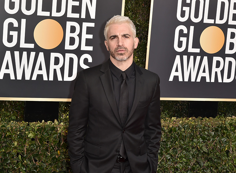 Chris Messina debuting his new blond hair at the Golden Globes 2019 red carpet