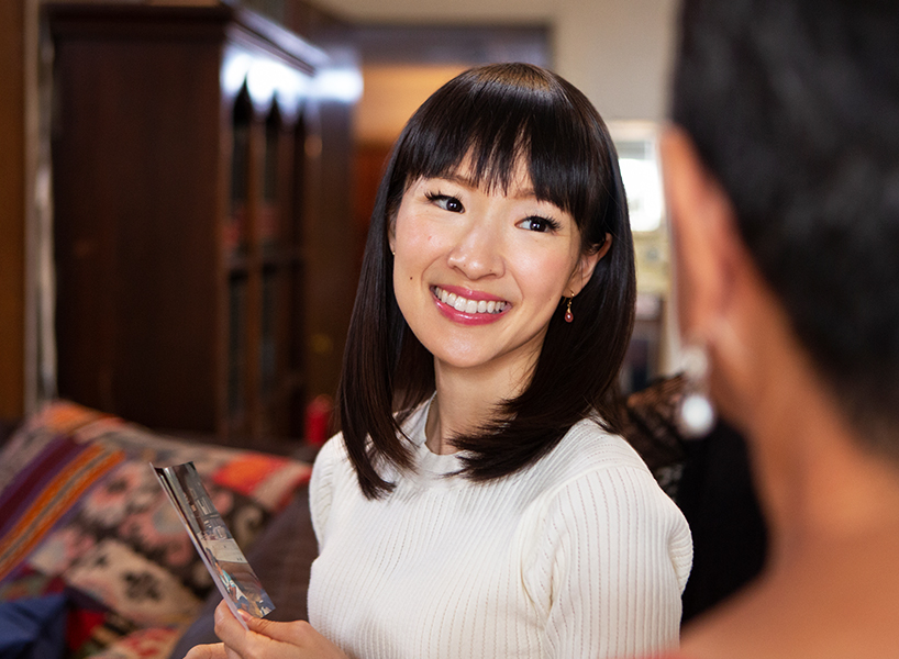 Marie Kondo smiles in this still from her Netflix series 'Tidying Up With Marie Kondo'