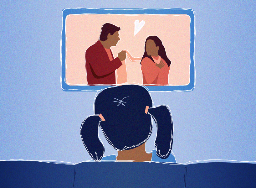 A cartoon depiction of a young Indian girl watching a Bollywood film on TV. The image is shown from behind the couch, looking onto the back of the girl's head as she watches the movie.