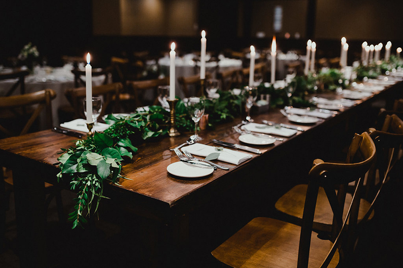 A wedding table setting at Nita Lake Lodge
