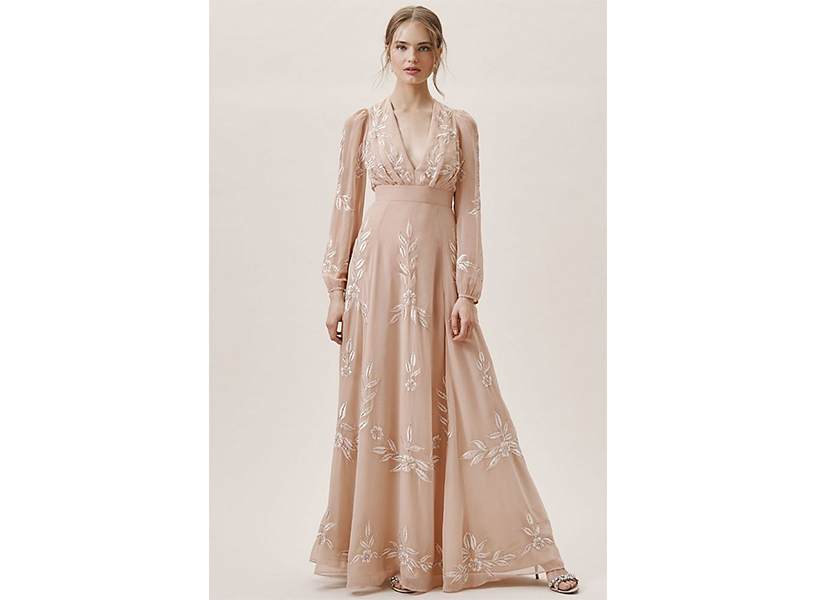 A pink dress from Anthropologie that resembles the Jennifer Lawrence engagement dress