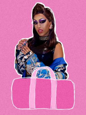 Drag performer Priyanka against a pink background