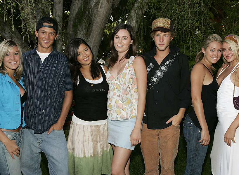 Talk about a throwback. Kristin Cavallari, Stephen Colletti, Lauren Conrad and other castmembers of MTV's Laguna Beach: The Real Orange County in 2004 (Photo: Getty Images)