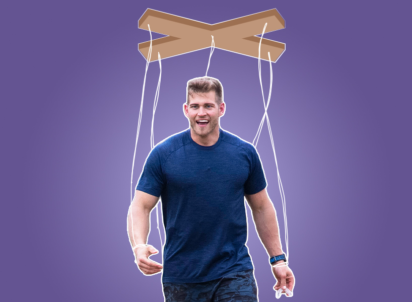 A photo of Luke P from The Bachelorette edited to look like a marionette