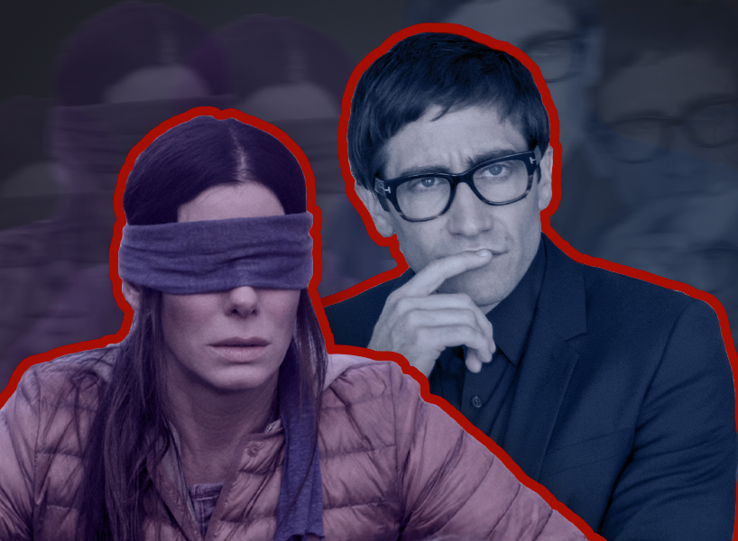 Sandra Bullock is blindfolded in a scene from Bird Box and Jake Gyllenhaal thinks pensively in this collage
