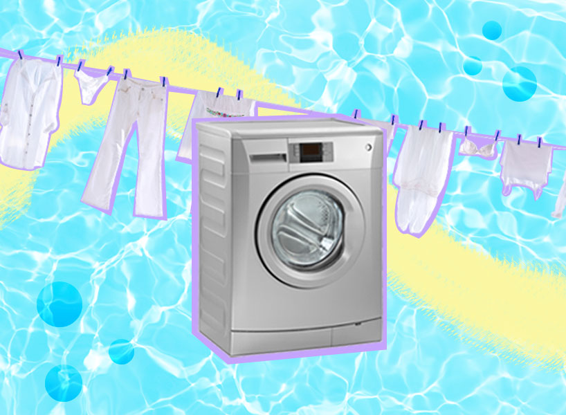 A collage of a laundry line and a washing machine on a blue watery looking background