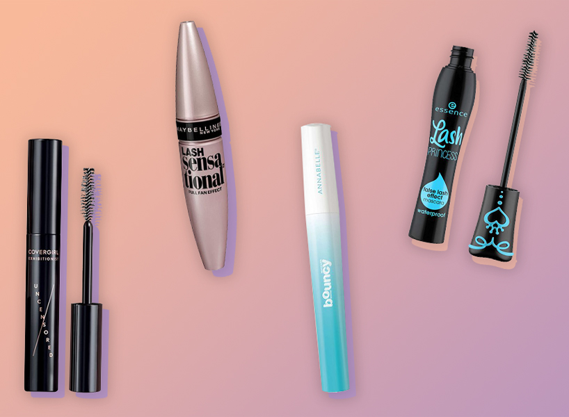 Five different drugstore mascaras against a purple-pink gradient background and light blue border.