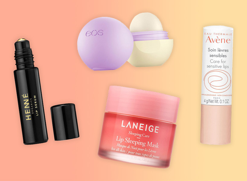 A Henné lip serum, Laneige lip mask, EOS lip balm and Avène lip balm against a pink-orange background.