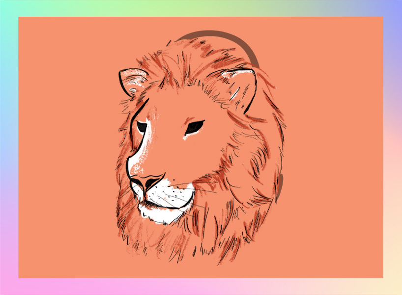Leo illustration: a lion's head