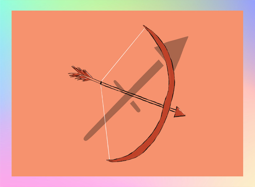 Sagittarius illustration: a bow and arrow
