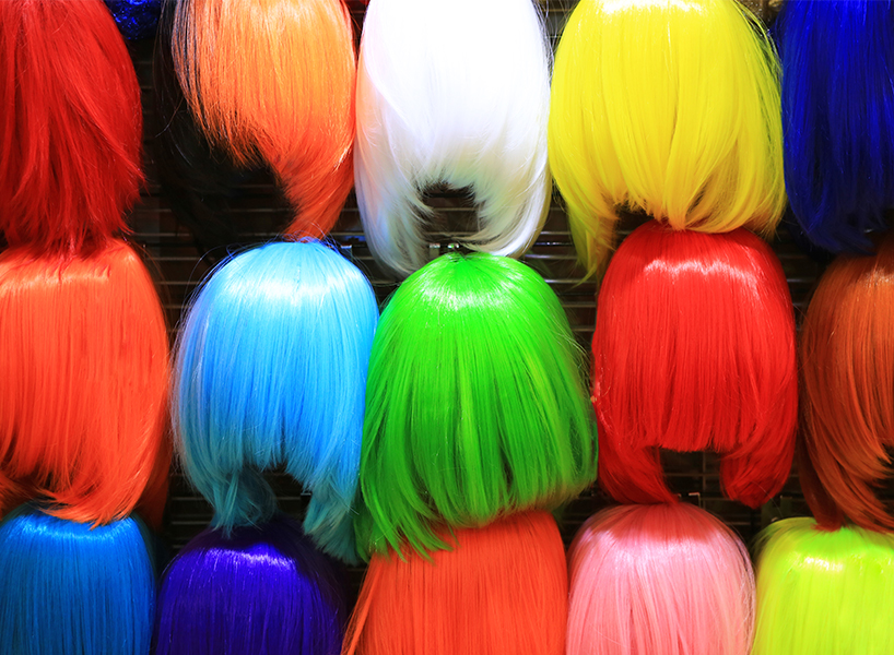 Colourful Halloween wigs at a costume store