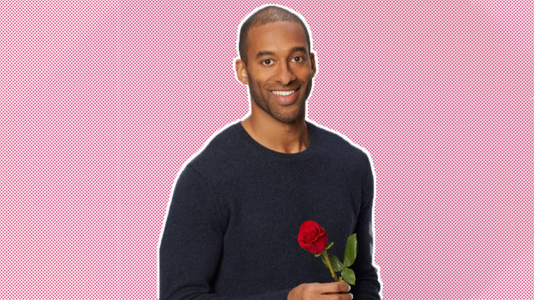 matt james the bachelor: Matt James poses with a rose in a still from ABC press photos