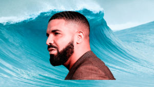 drake barbados rihanna: Drake's head is in the foreground with a big wave in the background