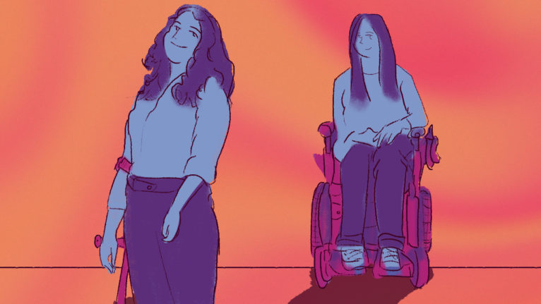 adaptive fashion brands: Illustration of a woman in a wheelchair and a woman holding a crutch