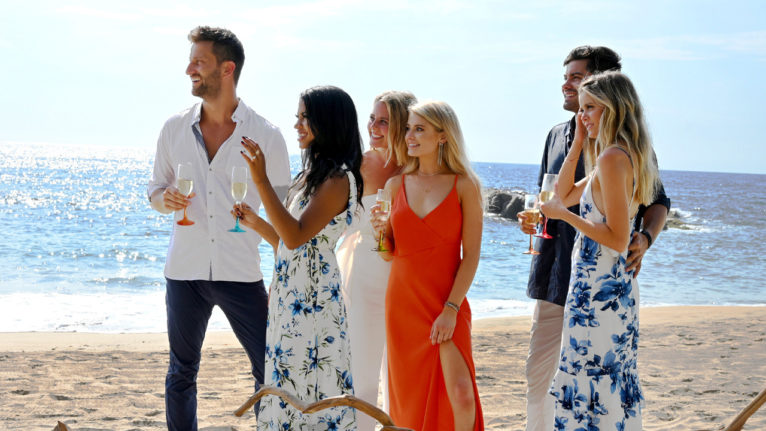 biggest bachelor rumours 2020: Chris, Katie, Kristian, Demi, Hannah and Dylan are pictured in a still from season 6 of Bachelor in Paradise