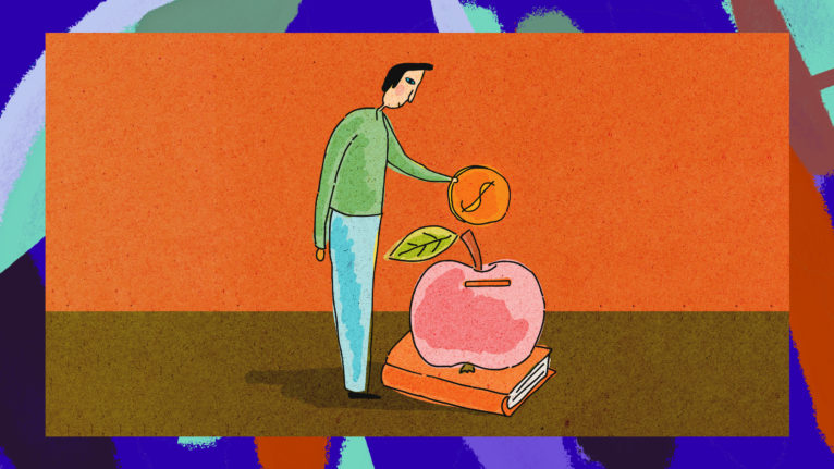 back to school covid finance: Drawing of a man in a green sweater placing money into an apple-shaped piggy bank