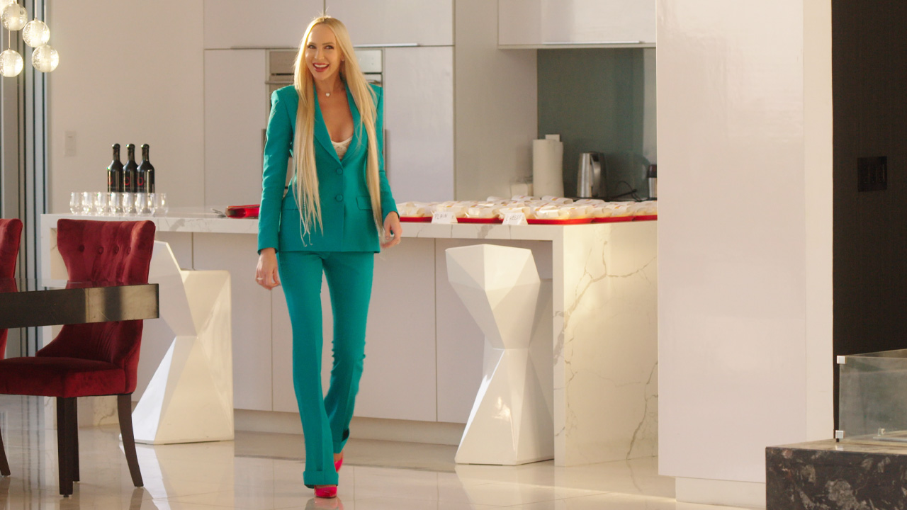 christine quinn outfits: teal suit