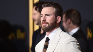 chris evans leaked photo: Chris Evans poses in a white suit