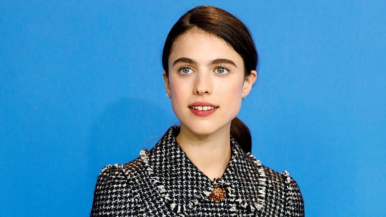 margaret qualley shia labeouf dating backlash: Margaret Qualley is pictured in a black plaid jacket