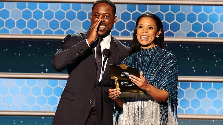 golden globes 2021 diversity: Sterling K. Brown and Susan Kelechi Watson speak onstage at the 78th Annual Golden Globe Awards