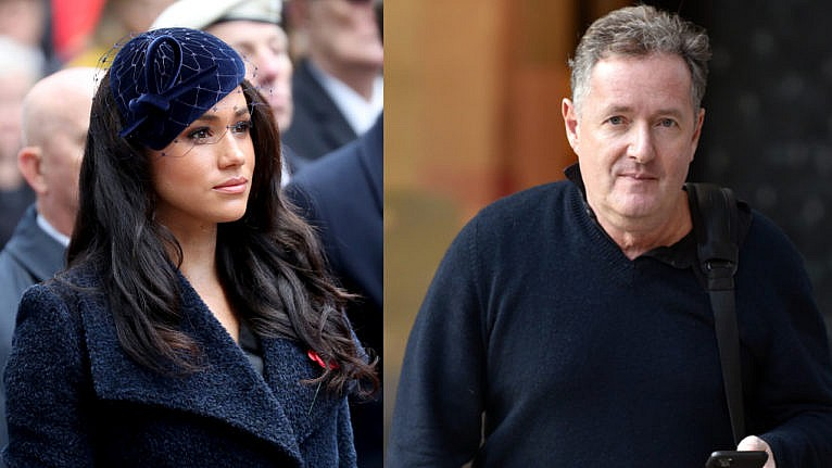 A side-by-side photo of Meghan Markle and Piers Morgan